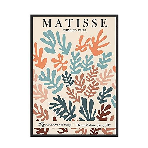 Matisse retro quadro astratto fiore pianta da parete, poster nordico e decorazione artistica stampata, pittura su tela senza cornice A1 30x40cm