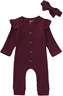 Mikrdoo Newborn Baby Girl Clothes Romper Cotton Solid Jumpsuit Ruffle Sleeve One-Piece Bodysuit Infant Clothes Outfits
