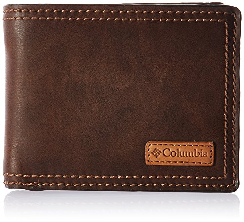 Columbia Men's RFID Passcase Wallet, Dark Tan, One Size