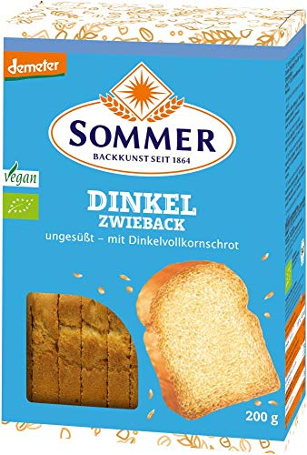 Sommer & Co. Bio Demeter Dinkel-Zwieback, ungesüsst, vegan (6 x 200 gr)