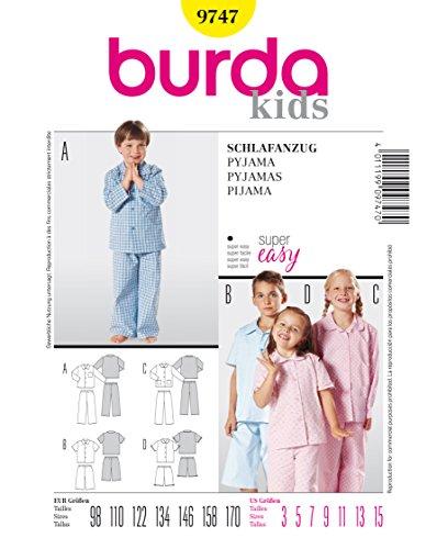 Burda Schnittmuster 9747 Pyjama Gr. 98-170
