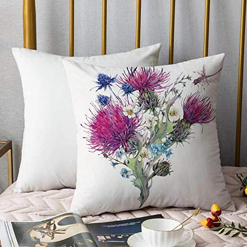 Soft Decorative Throw Pillow Cover Cushion Covers,Dragonfly,Summer Natural Meadow Herbs Bouquet Wild Thistles Chamomiles WatercoPillowcase Pillow Shams, for Sofa Bedroom Car Chair 18x18 Inch/45x45 cm