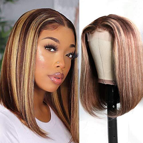 Nadula Highlight Straight Bob Wig Honey Blonde 4x1 Inch Lace Middle Part Wigs for Black Women Virgin Brazilian Human Hair Fake Scalp Wigs 150% Density (14inch)