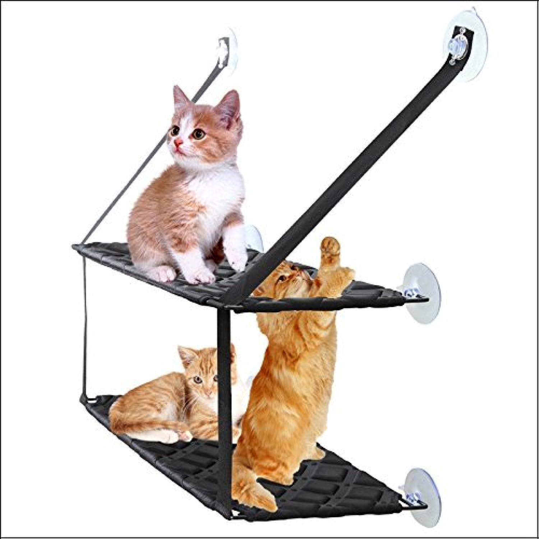 QYDSHDBQWIPet Products cat Hammock Sun seat Window cat Bed loadable 50lb ,Black (Single)