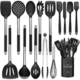 15 PCS Silicone Kitchen Cooking Utensils Set, Heat-Resistant Utensil Set with Premium Stainless Handles for Cooking and Baking, Non-Stick Spatula Kitchen Gadgets Cookware Set(Black)