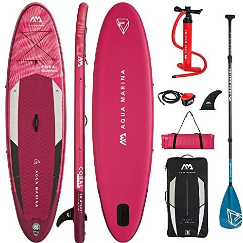 Aqua Marina Sup Board Gonfiabile Stand up Paddle AQUAMARINA Coral, confezione completa 310 x 79 x 12 cm, con imbottitura in carbonio
