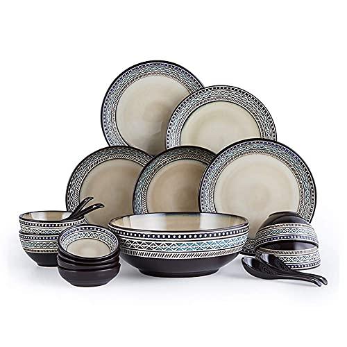 DGHJK Juego de vajilla de 18 Piezas de gres de cerámica de Aspecto artístico Vintage con 5 Platos, 4 tazones, 4 cucharas, 4 platillos Servicio para 4 Personas