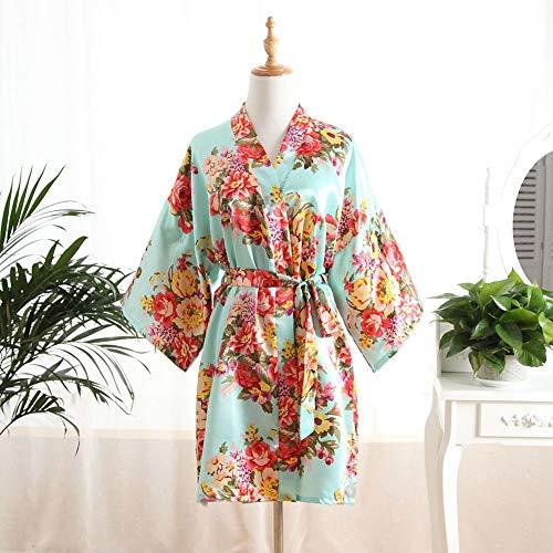 Kimono Bata de satén Damas Batas Damas Boda de Rose del Kimono Ropa de Noche de los Trajes de baño Cortos V Escote con el cinturón,4