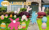 MISS FANTASY Easter Yard Signs Decorations Outdoor 24PCS Easter Bunny Egg Yard Stakes Large Easter Lawn Yard Decor Sign for Easter Egg Hunt Spring Party