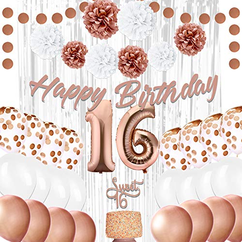 EpiqueOne Sweet 16th Birthday Party Decorations, Rose Gold D