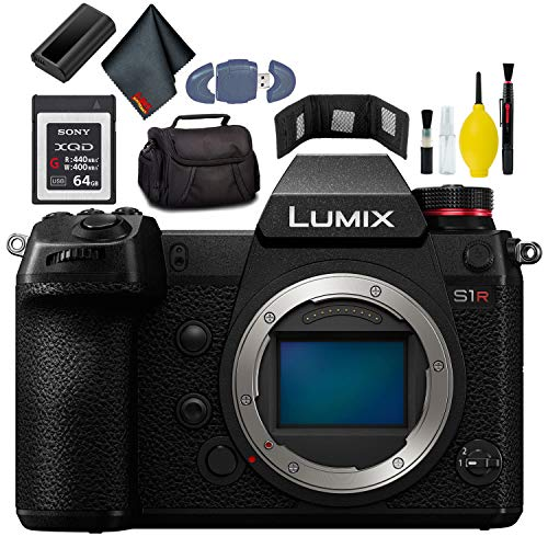 Panasonic Lumix DC-S1R Mirrorless Digital Camera KitBox-NoLens - Included Battery - Charger - 64GB XQD G Series Card - Wallet - Reader - Soft CASE - Additional Battery + More -  DC-S1RBODY-6a-0