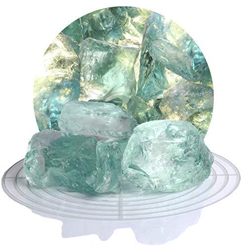 Schicker Mineral Bunte Glasbrocken Gabionen 10 kg, Glassteine 40-80 mm aus Deutschland, Glasbruch in vielen Farben (Türkis)