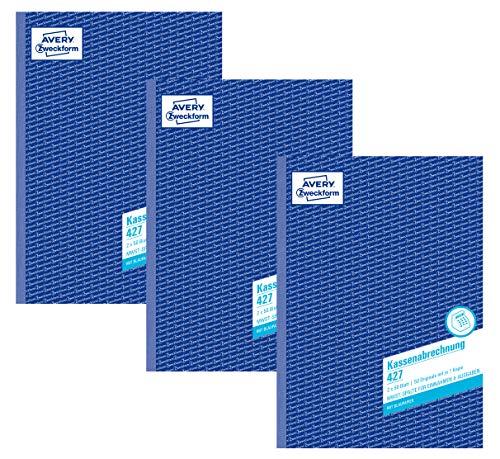 Avery Zweckform 427-5 Kassenabrechnung (A4, mit MwSt.-Spalte, 2x50 Blatt) 3er Pack, weiß/gelb