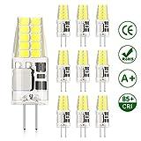 DiCUNO Bombilla LED G4, 3W 20 * 2835 equivalente a la lámpara halógena de 30W, No regulable, 300LM, AC/DC 12V, Blanco frío 6000K, Ángulo de haz de 360° - 10 Piezas