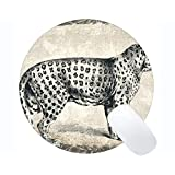 注文の元のヒョウシリーズ円形のマウスパッド、ヒョウ猫家族のヒョウ円形のマウスパッド