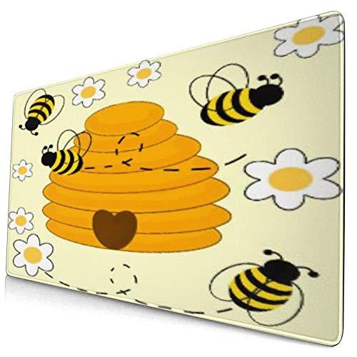 Nettes Mauspad ,Blumen Gänseblümchen Honig Löwenzahn Kaffeebecher,Rechteckiges rutschfestes Gummi-Mauspad für den Desktop, Gamer-Schreibtischmatte, 15,8