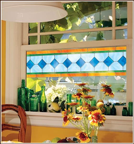 Charleston Stained Glass Accents Window Film 8 In Border 2 Each