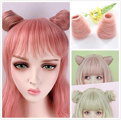 2Pcs Mini Synthetic Hair Cat Ears Bun Claw in Messy Bun Chignon Hair Pieces Extensions Accessory (pink)