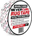 """NeverCurl Double Sided Extra Thick Rug Tape with Mesh Fabric - 2"""" by 90 Feet Roll - Anti Slip Non Skid Gripper Tape For Rugs, Mats, Pads, Runners - Indoors Work on Any Floor - Hardwood Tiles Laminates"""