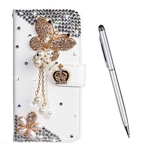 TOUCASA Hülle Kompatibel mit Nokia 3.2, Handyhülle Brieftasche PU Leder Flip [Diamond Series] Klapphülle Kratzfestes Schutz Lederhülle (Goldschmetterling)