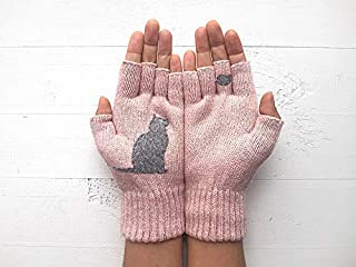 Wool Gloves Fingerless Mittens Hand Warmers Cat Gift Winter Half Finger Pink Women Christmas Valentine Holiday Cats Kitten