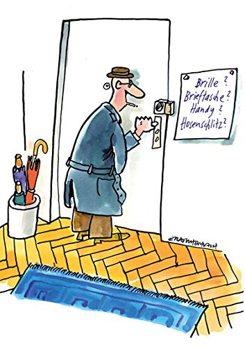 Postkarte A6 • 72101 ''Brille, Brieftasche'' von Inkognito • Künstler: Erich Rauschenbach • Satire • Cartoons