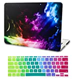 KECC Laptop Case Compatible with MAC Air 13' w/Keyboard Cover Plastic Hard Shell Case A1466/A1369 2 in 1 Bundle (Colorful Space)