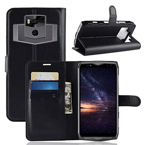 pinlu® PU Leder Tasche Handyhülle Für Ulefone Power 5 Smartphone Wallet Hülle Mit Standfunktion & Kartenfach Design Hochwertige Ledertextur schwarz