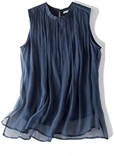 LUKEEXIN Silk Silk Silk Smooth Folds Sleeveless Vest Loose Pullover Top