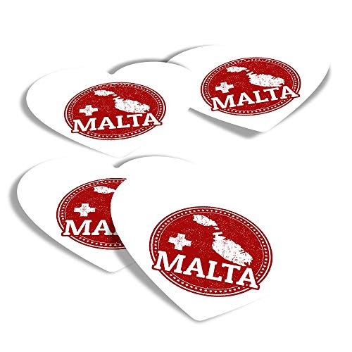 Vinyl Heart Stickers (Set of 4) - Malta Maltese Flag Map Travel Fun Decals for Laptops,Tablets,Luggage,Scrap Booking,Fridges #4285