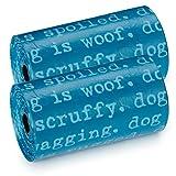 Dog is Good Dogism Pet Waste Bags, 8-Pack - Durable Leakproof Plastic Poop Bags - Ocean Blue
