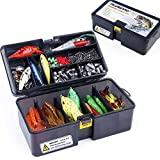 Plusinno fish anytime anywhere compact tackle box kit combines all the essential fishing accessories like hooks, barrel swivels, line stoppers, sinkers and leaders with the saltwater / freshwater combinations of metal, soft curly tail, jig head & har...