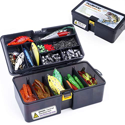 PLUSINNO Fishing Lures Baits Tackle Including Crankbaits, Spinnerbaits, Plastic Worms, Jigs, Topwater Lures, Tackle Box and More Fishing Gear Lures...