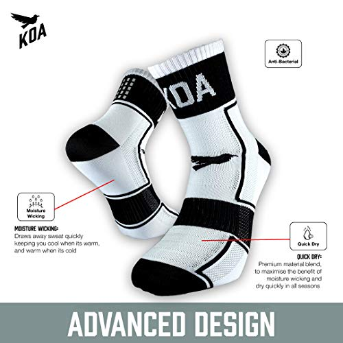 KOA® ELITE Performance High visibility Cycling and Running Socks 2 PACK, Light compression arch support for Men and Women ¦ All season, Seat wicking, Quick Dry sports sock. [WHITE] [FEARLESS]
