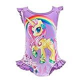 Lito Angels - Unicorno costume da bagno intero per bambine, estate, spiaggia, piscina, Taglia 5-6 Anni, Viola, Stile C