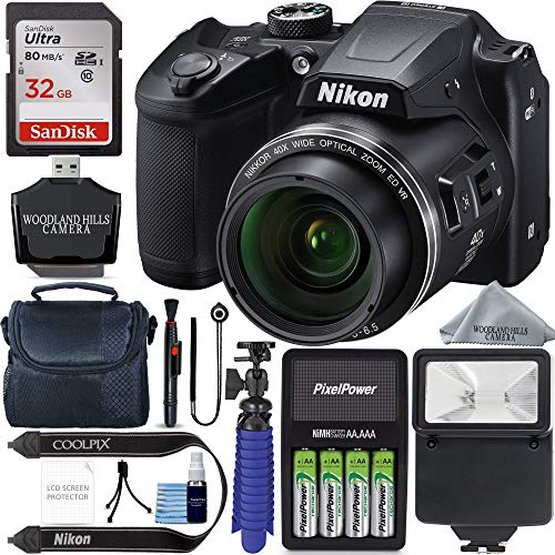 Nikon COOLPIX B500 16MP 40x Optical Zoom Digital Camera w/Built-in Wi-Fi NFC & Bluetooth (Black) + 32GB SDHC Accessory Bundle