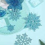 50 Stücke Kunststoff Funkeln Schneeflocken Ornamente für Weihnachten Dekoration, Verschiedene Größen (Blau Glitzer) - 3