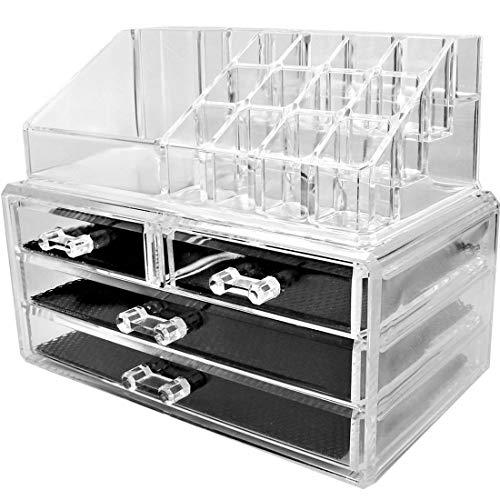 Organizzatore Per Cosmetici Con 4 Cassetti Make Up Accessori Bagno Trasparente