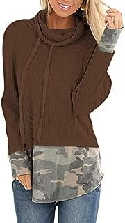 Sanyyanlsy Women's Long Sleeve Turtleneck Camo Printed Sweatshirt Tops Fashion Elegant Solid Color Tunic Blouse T-Shirts