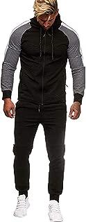 Zackate Mens Long Sleeve Sportswear Tops Pants Sets Zip Up Hoodies Trousers Tracksuits Sets Sweatshirts
