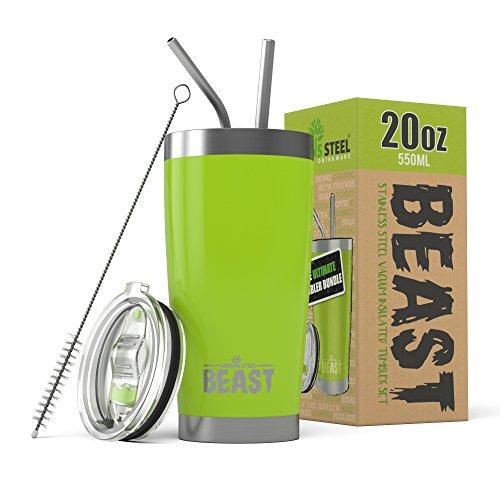 BEAST 20 oz. Tumbler Stainless Steel - Vacuum Insulated Rambler Coffee Travel Cup Gift Bundle (20 oz, Lemongrass Green)