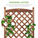 Best choice products 60in wood planter box & diamond lattice trellis, mobile outdoor raised garden bed for climbing… 10 diamond lattice: a 60-inch trellis is woven in a tight, diamond pattern to provide structural support and plenty of space for climbing plants planter box: fill the 10-inch deep box with your favorite potted plants and a water-resistant liner (not included) or a fresh soil bed thanks to built-in drainage holes optional wheels: a set of 4 included wheels can easily attach for added mobility and come with two locks for stability