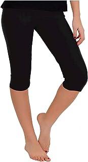 Women's Knee-Length Leggings | Stretchy Leggings | Cotton...