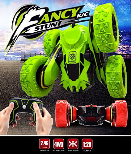 Threeking Rc Cars Outside Toys for Kids Ages 6+ Outdoor Indoor Toys Birthday Gift Present 1/28 4WD 2.4Ghz Rechargeable Remote Control Car Rc Stunt Car
