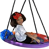 Large Saucer Tree Swing for Kids Outdoor with Straps - 40' Round Outdoor Swings for Swingset - Large Tree Swings for Children with Hanging Kit - Heavy Duty Children Disk Swing for Outside