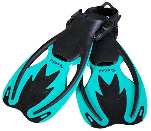 PiNAO Sports - Verstellbare Taucherflossen für Kinder, Größe S - XL [Schwimmflossen, Tauchen, Schnorchelflossen, Kinderflosse, Kinder, Schnorcheln] (Aqua, S-M)