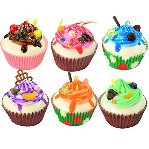 non-branded 6 Piezas de Cupcakes Falsos Modelo de Postre Artificial Modelo de Adorno Decoración de La Tienda Accesorios de Foto de Pastel Creativo (Color aleatorio)
