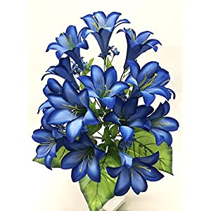 Silk Flower Garden 15 Heads Easter Lily Bouquet