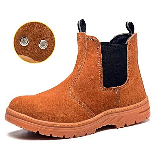 Zapatos de trabajo Hombres Soldador Soldadura Botas de seguridad - Cap de punta de acero y zapatos de trabajo de metal Missole de acero - Suede Cuero Tobillo Luz transpirable Industrial y construcción