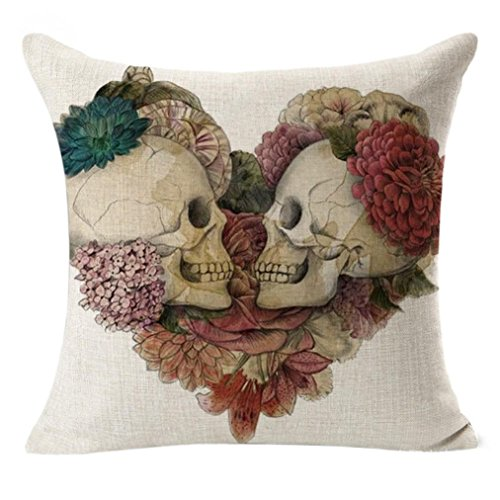 Kissenbezug 45 x 45 cm Leinen Vintage Schädel Herzförmig Pillow Cover Sofa Taille Bett Home Decor LuckyGirls